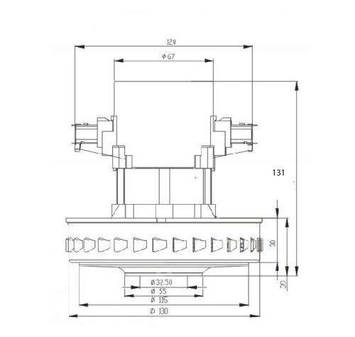 32 pylesosnyj dvigatel VC07W121 1400 W moyuschij n 131 D 130 sxema 20180625130653 - Двигатель для пылесоса VC07W121 1400 W (моющий)