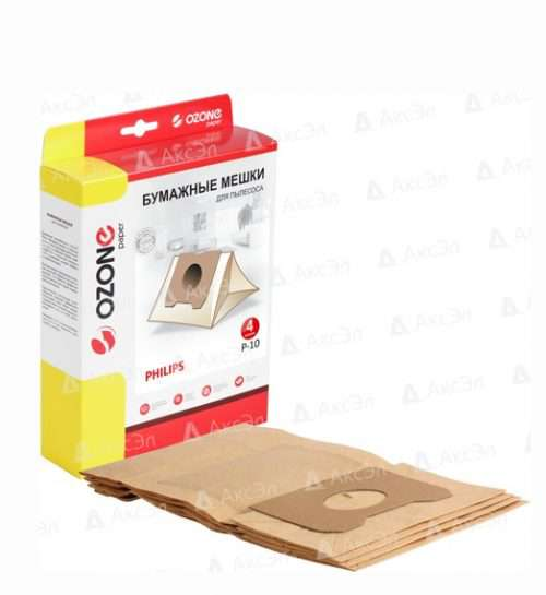 P 10 500x545 - P-10 Мешки-пылесборники Ozone бумажные для пылесоса PHILIPS,  тип оригинального мешка: HR 6947.